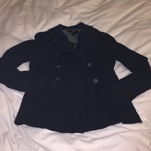 H&M black cotton/canvas pea coat size 4 EUC
